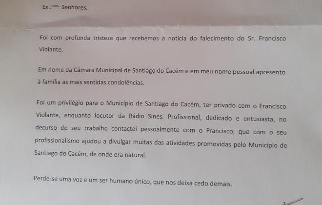 Município de Santiago do Cacém reconhece trabalho de Francisco Violante na Rádio Sines