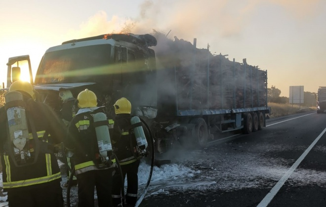 Camião carregado de madeira ardeu esta manhã em Grândola